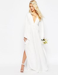 Asos Bridal Waterfall Jumpsuit With Tie Waist Off White