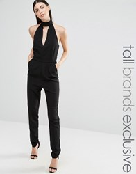 Lavish Alice Tall Halter Neck Tailored Jumpsuit Black