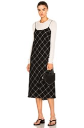 Tibi Strappy Bias Dress In Black Checkered And Plaid Black Checkered And Plaid