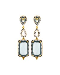 Freida Rothman Pave Aqua Crystal Geometric Triple Drop Earrings Women's