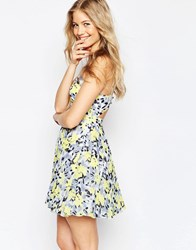 Asos Sheer And Solid Pleated Mini Dress In Bright Lime Floral Multi