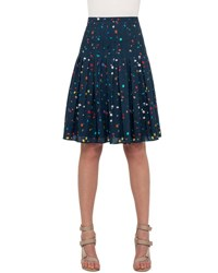 Akris Punto Stitch Pleated Boulder Print Skirt Navy