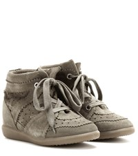Isabel Marant Etoile Bobby Concealed Wedge Suede Sneakers Brown