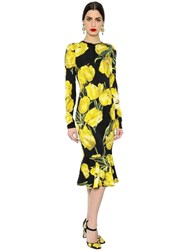 Dolce And Gabbana Tulip Print Stretch Silk Charmeuse Dress