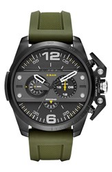 Men's Diesel 'Ironside' Chronograph Silicone Strap Watch 55Mm Green Black