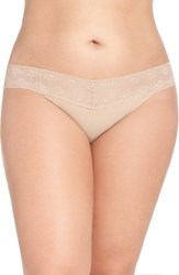 Natori Plus Size Women's 'Bliss Perfection' Thong Cafe
