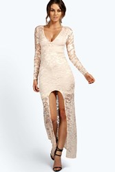 Boohoo Isobel Plunge Neck Lace Maxi Dress Nude