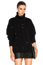 Thierry Mugler Cable Knit Piercings Sweater In Black