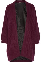 Maje Oversized Ribbed Knit Cardigan Burgundy