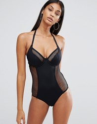 Pour Moi Underwired Halter Swimsuit Black