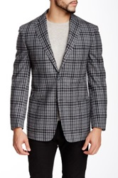 Ike Behar Made In Italy Gray Plaid Two Button Peak Lapel Blazer