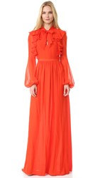 Giambattista Valli Long Sleeve Ruffle Gown Persimmon