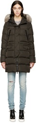 Moncler Olive Fur And Down Fragonette Coat