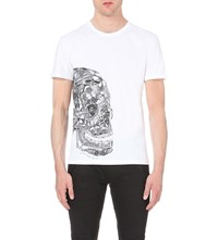 Alexander Mcqueen Butterfly Skull Cotton Jersey T Shirt White Black