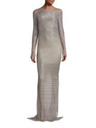 Pamella Roland Embellished Illusion Gown Silver