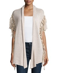 Joan Vass Half Sleeve Cardigan With Faux Suede Trim Buckwheat