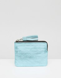 Asos Metallic Leather Coin Purse With Tassel Blue