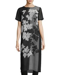 Vince Camuto Short Sleeve Floral Print Tunic Black White