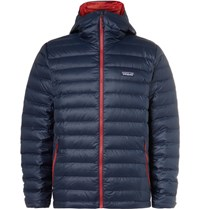 Patagonia Quilted Hell Hooded Down Jacket Navy