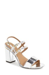 Calvin Klein Women's 'Caisiey' Block Heel Sandal Silver Leather