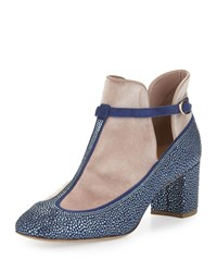 Valentino Crystal Velvet T Strap Mid Heel Pump Blue China