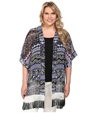 Steve Madden Plus Size Aztec Scallop Fringed Topper Royal Women's Clothing Navy