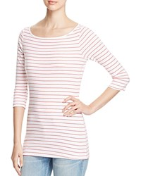 Three Dots Betty Striped Tee White Red