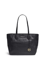 Michael Kors 'Ani' Large Top Zip Pebbled Leather Tote Black