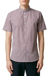 Men's Topman Slim Fit Short Sleeve Gingham Shirt