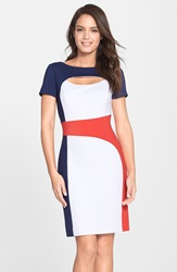 Nue By Shani Keyhole Colorblock Ponte Sheath Dress Navy White Poppy