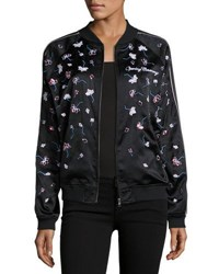 Opening Ceremony Embellished Silk Bomber Jacket Black