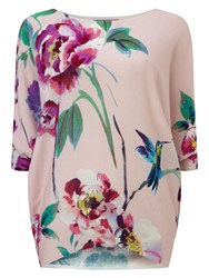 Phase Eight Amelea Blossom Print Knit Jumper Pink