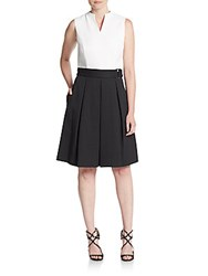 Ellen Tracy Belted Colorblock Fit And Flare Dress White Black