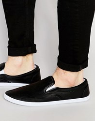 Asos Slip On Plimsolls In Black With White Sole Black