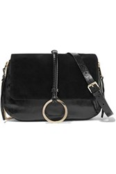 Halston Heritage Leather And Suede Shoulder Bag Black