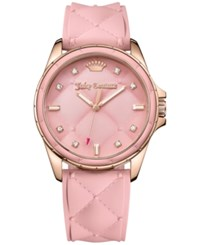 Juicy Couture Women's Malibu Dusty Rose Quilted Silicone Strap Watch 40Mm 1901371 Pink