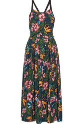 Y 3 Printed Cotton Jersey Maxi Dress Emerald