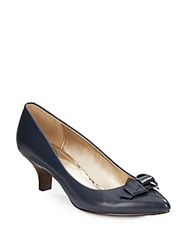 Circa Joan And David Edlyn Patent Bow Leather Pumps Navy