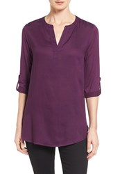 Pleione Petite Women's Split Neck Mixed Media Tunic Purple Potent