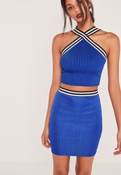Missguided Ribbed Striped Waist Mini Skirt Cobalt Blue Blue
