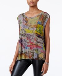 Rachel Roy Graffiti Print T Shirt Only At Macy's Heather Gr