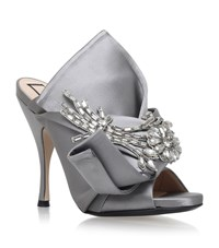 N 21 No. 21 Satin Bow Flower Mules Female Light Grey
