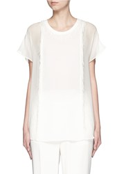 3.1 Phillip Lim Eyelash Fringe Silk Crepe T Shirt White