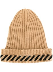 Off White Ribbed Striped Beanie Brown
