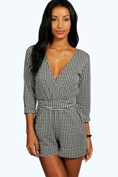 Boohoo Dogtooth Relaxed Tie Belt Playsuit Multi