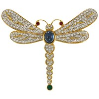Eclectica Vintage 1980S Attwood And Sawyer Gold Plated Cabochon And Swarovski Crystal Dragon Fly Brooch Gold Blue
