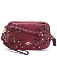 Coach Embellished Cross Body Bag Pink Purple