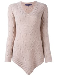 Ralph Lauren Black Label Ralph Lauren Black V Neck And Hem Jumper Pink And Purple