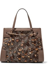 Valentino Python And Leather Trimmed Calf Hair Tote Mushroom