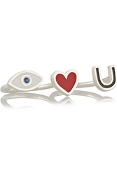 Iam By Ileana Makri I Love You Silver Enamel And Sapphire Two Finger Ring